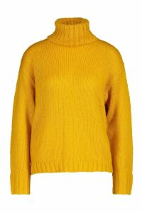 Womens Oversized Roll Neck Jumper - yellow - M, Yellow