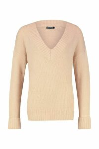 Womens Fluffy Turn Up Cuff Round Neck Jumper - beige - M, Beige