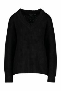 Womens Turn Up Cuff V Neck Jumper - black - XS, Black