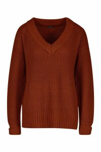 Womens Turn Up Cuff V Neck Jumper - brown - L, Brown