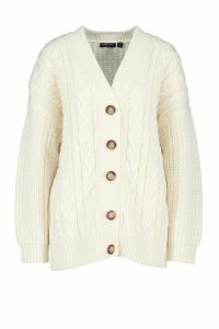 Womens Button Through Cable Knit Cardigan - white - M, White