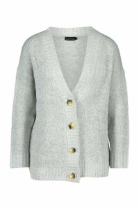 Womens Oversized Button Through Cardigan - grey - M, Grey