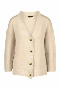 Womens Oversized Button Through Cardigan - beige - M, Beige