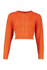 Womens Cable Knit Crop Jumper - orange - M, Orange