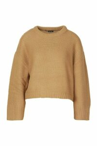 Womens Drop Shoulder Rib Knit Jumper - beige - XS, Beige