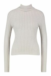 Womens Roll Neck Ribbed Jumper - grey - M, Grey