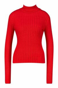 Womens Roll Neck Ribbed Jumper - red - M, Red