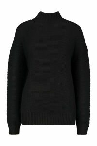 Womens High Neck Oversized Jumper - black - M, Black