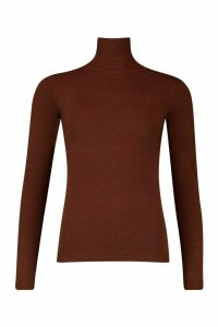 Womens Roll Neck Knitted Jumper - brown - XS, Brown