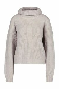 Womens Cowl Roll Neck Oversized Jumper - crystal - M, Crystal