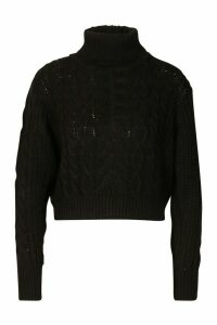 Womens Cropped Roll Neck Cable Knit Jumper - black - M, Black