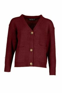 Womens Pocket Detail Button Through Cardigan - red - M, Red