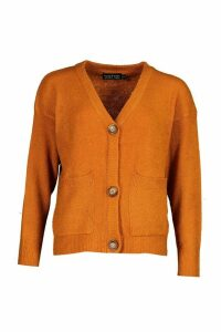 Womens Pocket Detail Button Through Cardigan - gingerbread - XS, Gingerbread