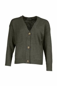 Womens Pocket Detail Button Through Cardigan - mid grey - M, Mid Grey