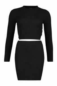 Womens Crop Jumper Mini Skirt Knitted Set - black - M, Black