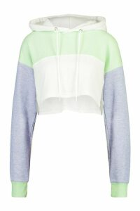 Womens Colour Block Cropped Hoodie - green - 12, Green