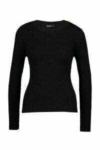 Womens Ribbed Crew Neck Jumper - black - M, Black