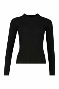 Womens Ribbed roll/polo neck Jumper - black - S, Black