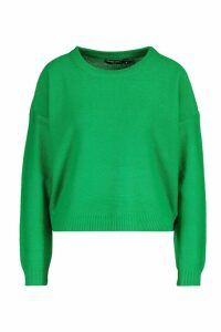 Womens Boxy Scoop Neck Jumper - green - M, Green