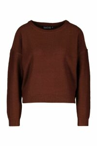 Womens Boxy Scoop Neck Jumper - brown - M, Brown