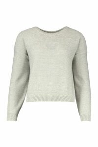 Womens Boxy Scoop Neck Jumper - grey - M, Grey