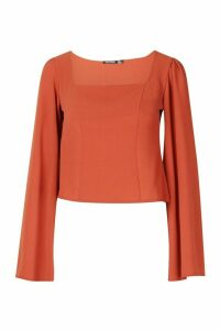 Womens Wide Sleeve Square Neck Blouse - orange - 14, Orange