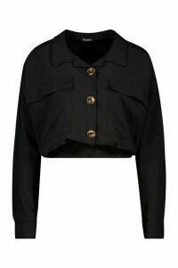 Womens Utility Pocket Gathered Waist Shirt - black - 14, Black