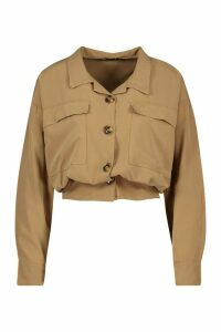 Womens Utility Pocket Gathered Waist Shirt - beige - 12, Beige