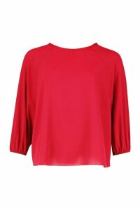 Womens Batwing Sleeve Blouse - red - 14, Red