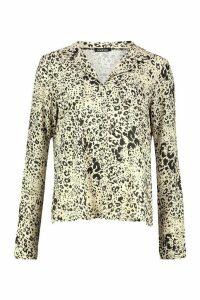 Womens Leopard Print Utility Woven Blouse - beige - 12, Beige