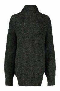 Womens Oversized Chunky Roll Neck Knit Jumper - black - M/L, Black