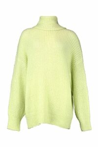Womens Oversized Chunky Roll Neck Knit Jumper - washed lime - M/L, Washed Lime