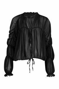 Womens Ruched Ruffle Neck Blouse - black - 8, Black