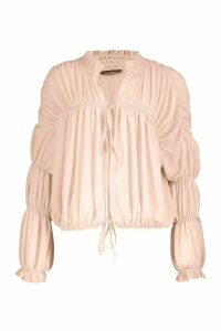 Womens Ruched Ruffle Neck Blouse - Beige - 6, Beige