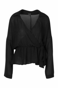 Womens Wrap Tie Front Blouse - black - 12, Black