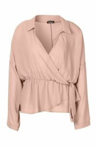 Womens Wrap Tie Front Blouse - pink - 10, Pink