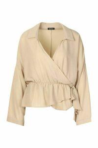 Womens Wrap Tie Front Blouse - beige - 10, Beige