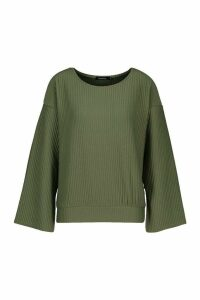 Womens Crew Neck Slash Sleeve Sweat In Jumbo Jersey - green - S, Green