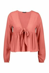 Womens Rib Tie Front Smock Peplum Top - Pink - 12, Pink