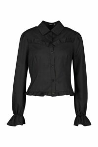 Womens Ruffle Detail Tailored Woven Blouse - black - 8, Black
