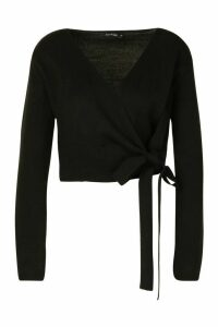 Womens Cropped Wrap Cardigan - black - M, Black
