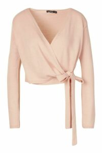 Womens Cropped Wrap Cardigan - pink - L, Pink
