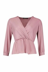 Womens Sparkle Fabric Woven Wrap Blouse - pink - 14, Pink
