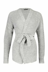 Womens Chunky Marl Knit Belted Cardigan - silver grey - L, Silver Grey