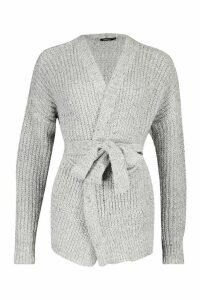 Womens Chunky Marl Knit Belted Cardigan - silver grey - L, Silver Grey