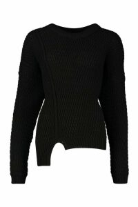 Womens Oversized Knitted Jumper - black - M, Black