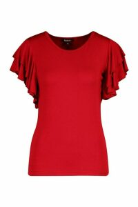 Womens Ruffle Sleeve Detail T-Shirt - Red - 10, Red