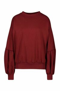 Womens Puff Sleeve Sweatshirt - red - 12, Red