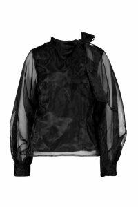 Womens Organza Bloujon Sleeve Pussybow Blouse - black - 14, Black