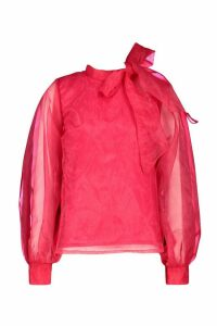 Womens Organza Bloujon Sleeve Pussybow Blouse - Pink - 16, Pink